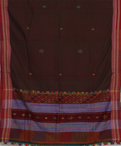 Dark Maroon Hand Embroidery Ilkal Saree