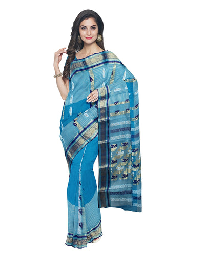 Handloom Blue Bengal Tant Cotton Saree