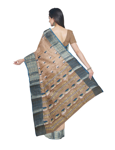 Handcrafted Beige Tussar Cotton Bengal Saree