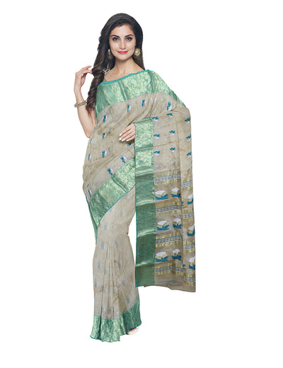 Off White Green Tussar Cotton Bengal Saree