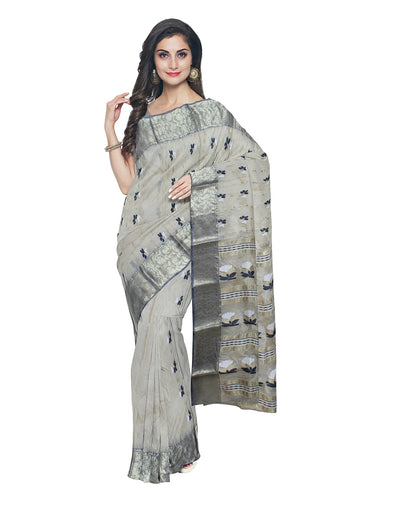 Off White Handcrafted Tussar Cotton Saree