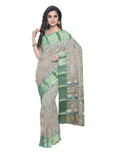 Beige Tussar Cotton Handloom Bengal Saree