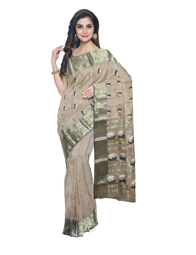 Handloom Beige Tussar Cotton Bengal Saree
