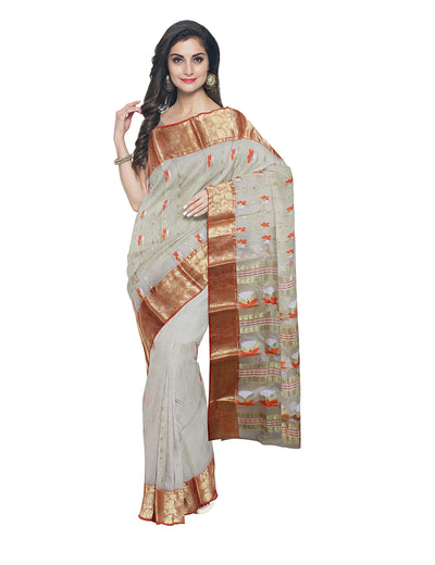 Beige Handloom Bengal Tussar Cotton Saree