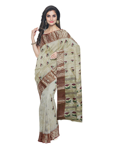 Beige Bengal Handloom Tussar Cotton Saree