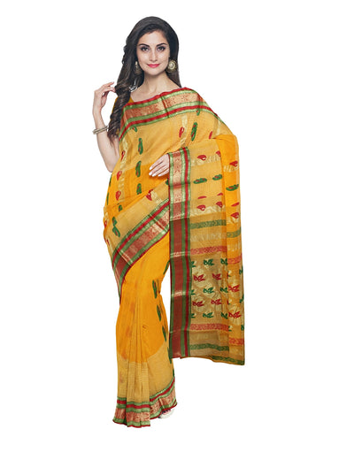 Yellow Bengal Tant Handloom Saree