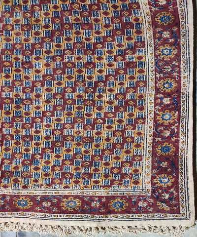 Brown and white block print warangal kalamkari durrie