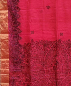 Madhubani Ruby Pink Hand Painted Silk Saree