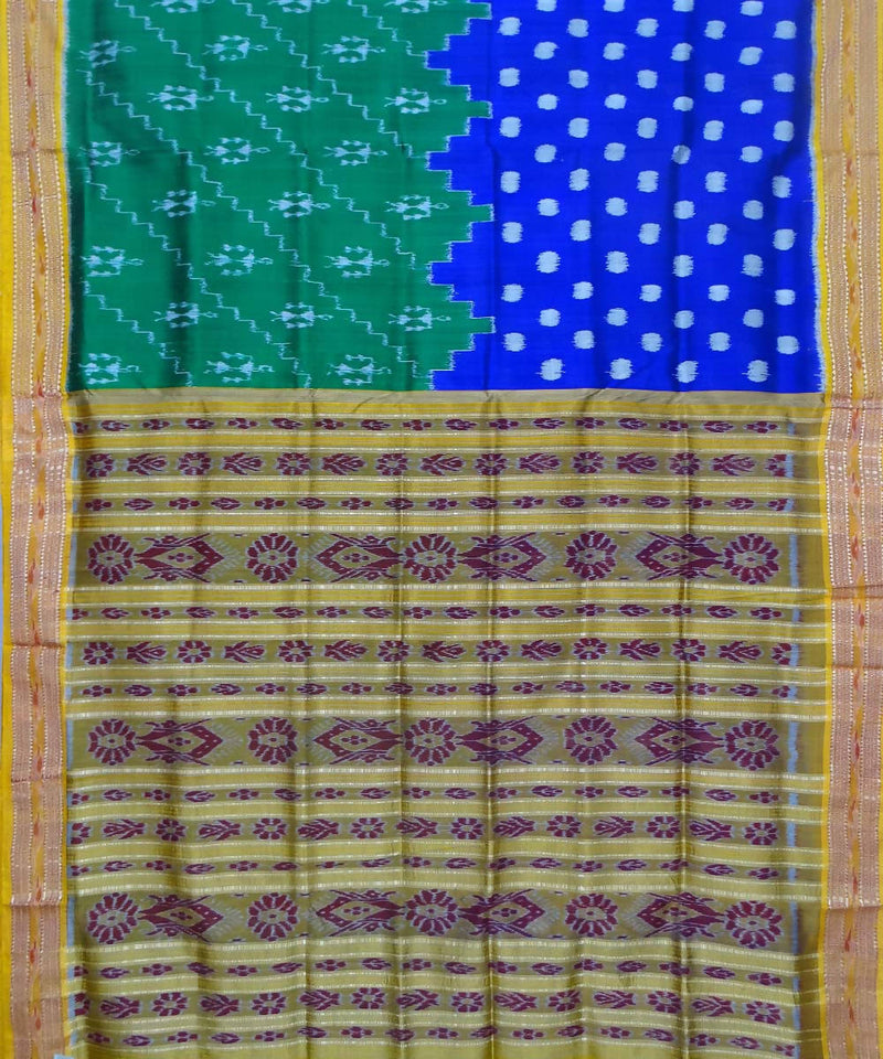 Green Blue Handloom Khandua Silk Saree
