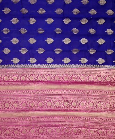 Banarasi Berry Blue Magenta Handloom Silk Saree