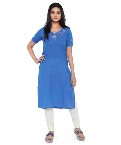 Blue straight handloom cotton kurta with hand embroidery