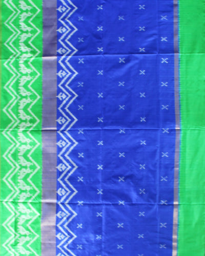 Handwoven Ikat Rajkot Silk Saree In Royal Blue and Green Shade