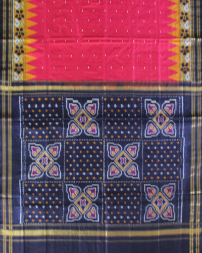 Handloom Pochampally Ikat Silk Saree in Pink and Blue Shade