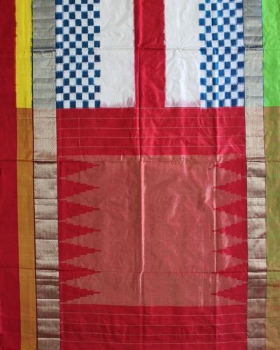 Multi Colored Handloom Ikat Rajkot Silk Saree