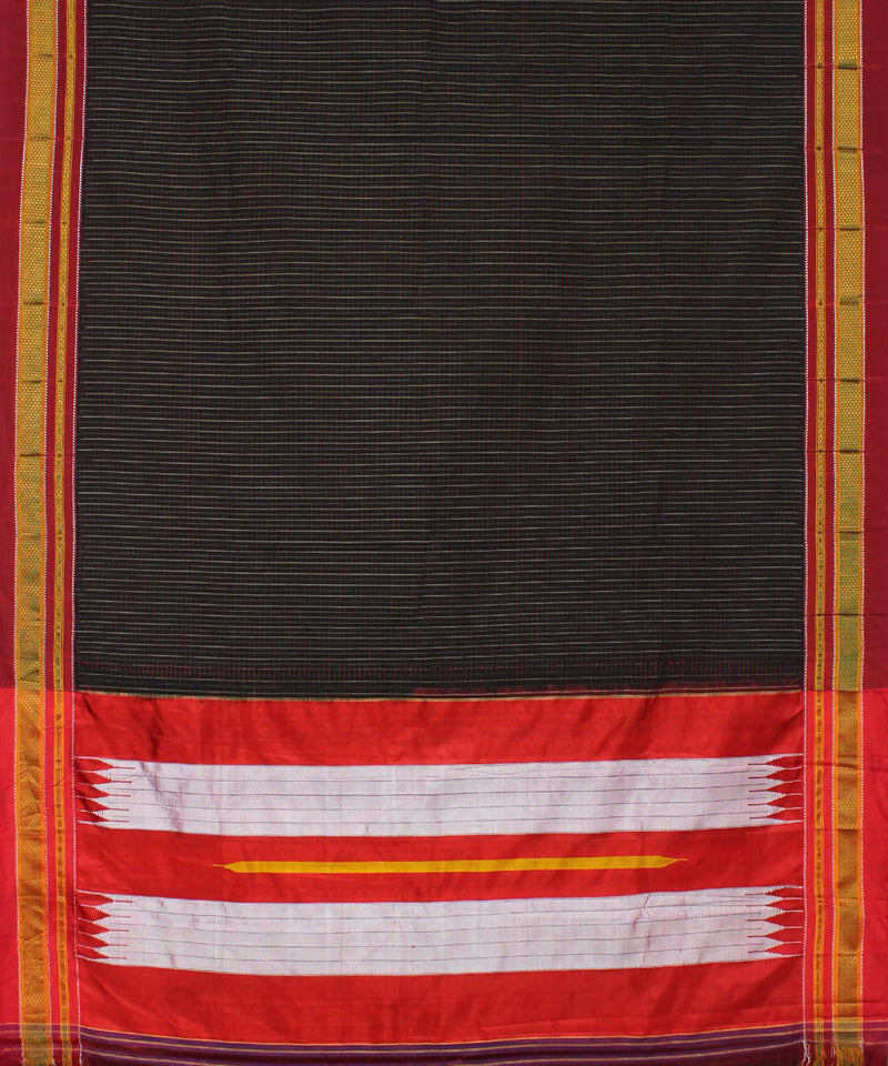 Handloom Black Multicolor Checks Ilkal Saree