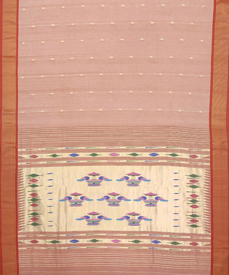 Pale Pink Handwoven Paithani Cotton Saree