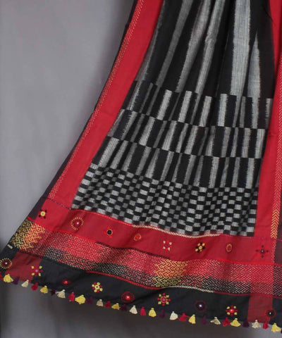 Black, Grey and Red Hand Embroidery Ikkat Cotton Dupatta