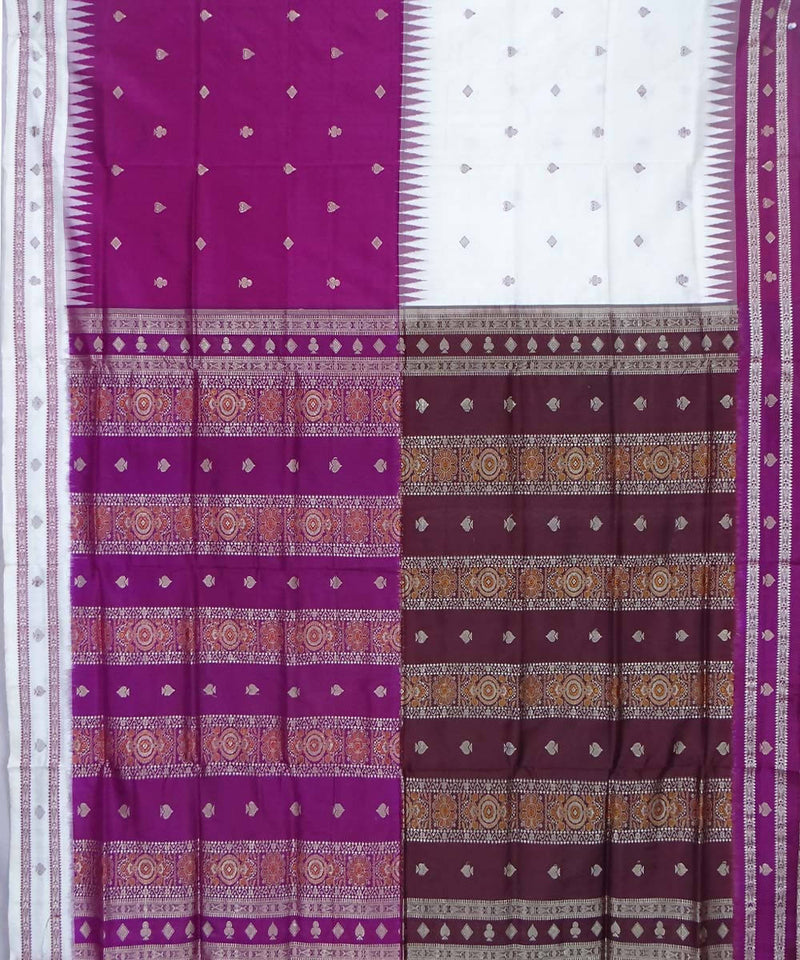 White Purple Handloom Bomkai Silk Saree