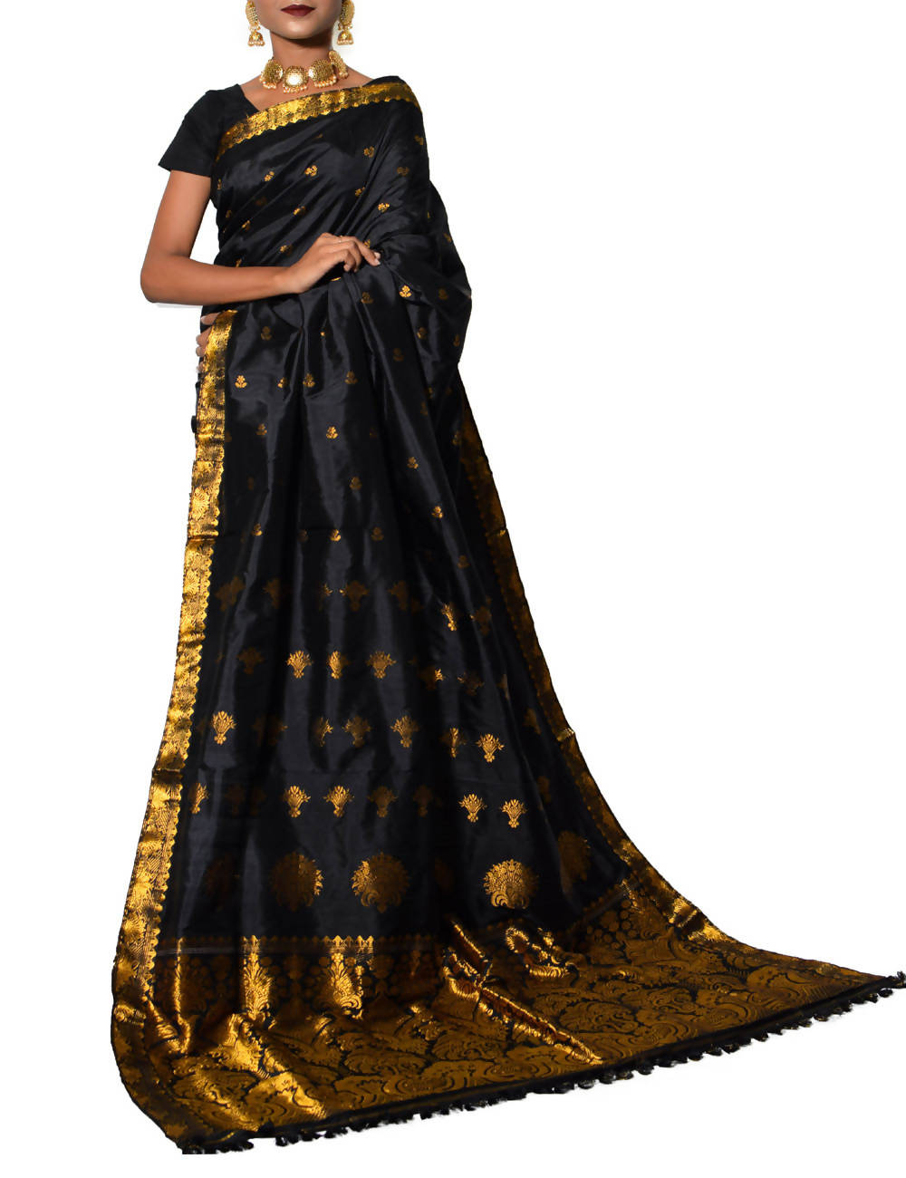 Black with Golden Handloom Assam Silk Saree