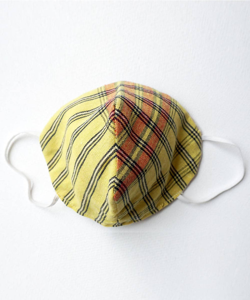Yellow Striped Three Layered Handwoven Cotton Mask 6, 10, 20 nos
