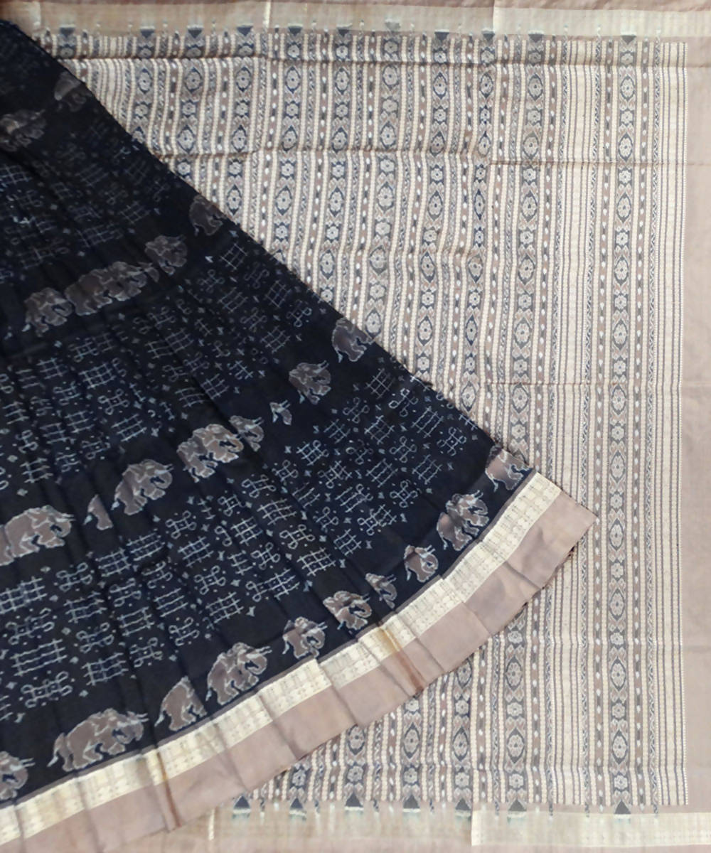 Sambalpuri Handloom Black Silk Saree