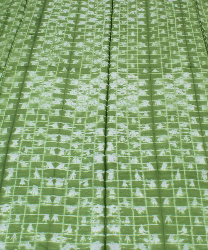 Green Shibori Print Chanderi Kurta Fabric