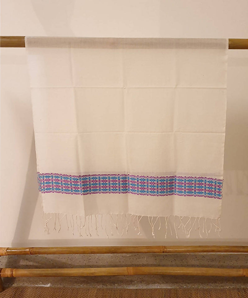 white and blue assam handloom cotton stole