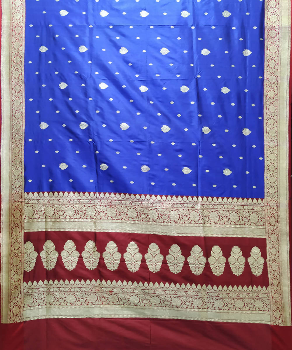 Navy blue and maroon handloom katan silk banarasi saree