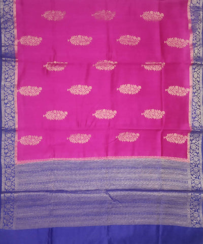 Banarasi Silk Magenta and Purple Blue Handloom Saree