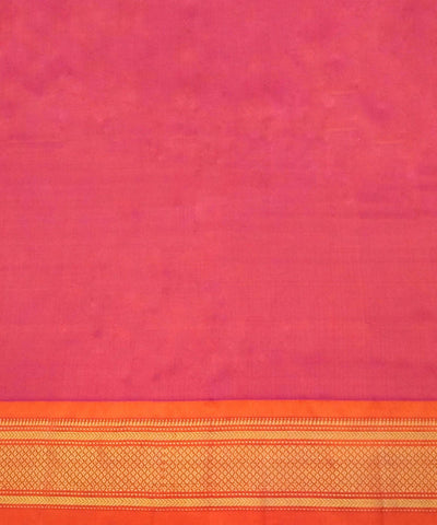 Orange Pink Handloom Paithani Silk Saree