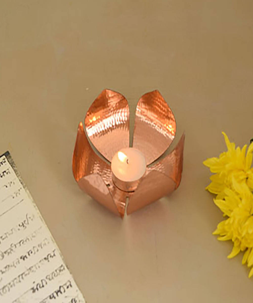 Handmade copper petiole tea light