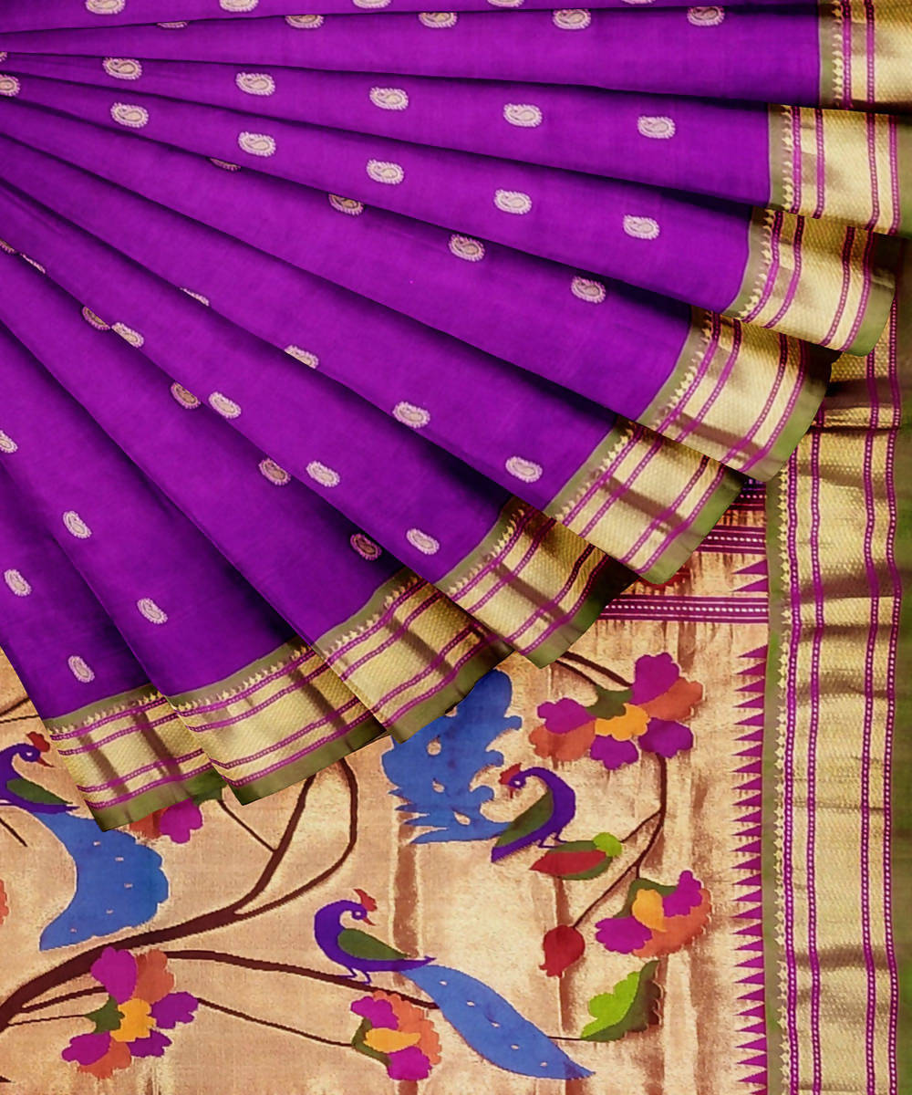 Dual Purple Handloom Paithani Silk Saree