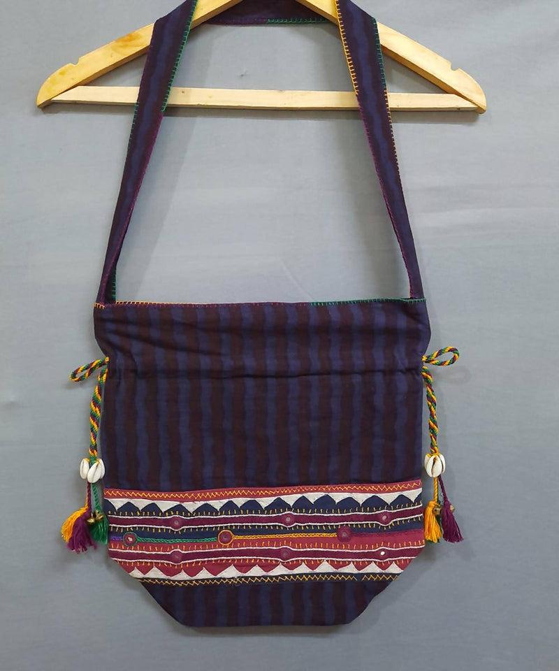dark purple lambani hand embroidery cotton hand bag