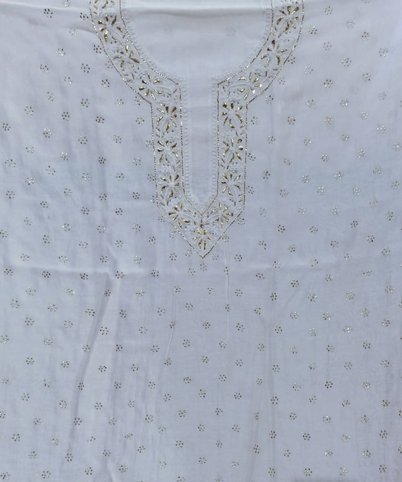White cotton silk chanderi chikankari hand embroidery kurta material