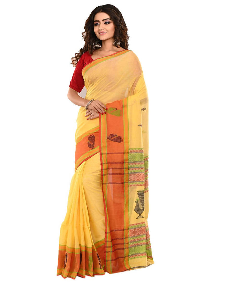 Yellow Bengal Handloom Cotton Saree