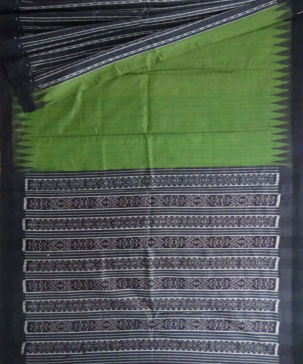 Army Green Red Eri Silk Handloom Saree