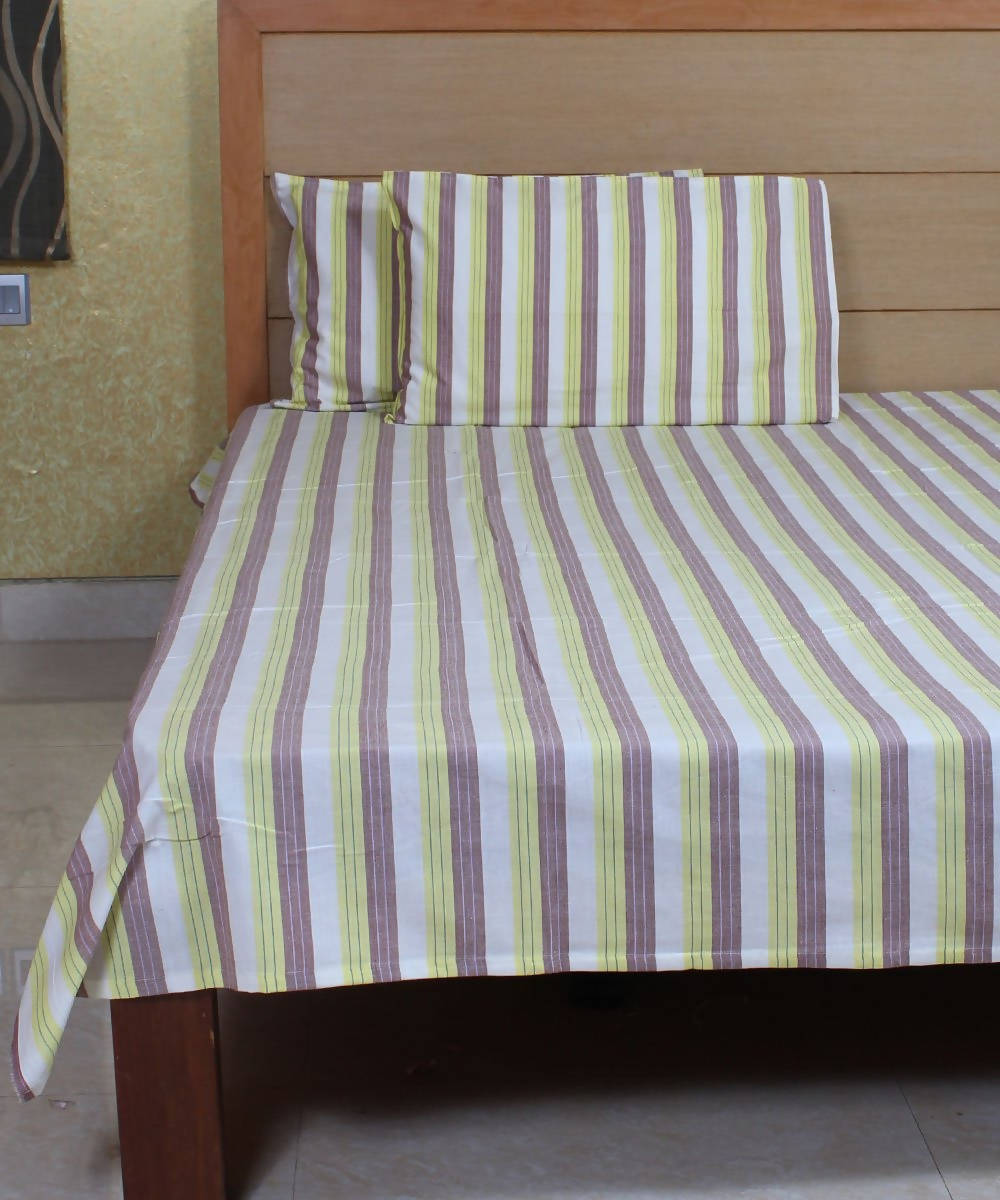 Yellow Brown Stripe Handloom Cotton Bedsheet