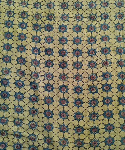 Yellow natural dye ajrakh block print handspun handloom cotton fabric