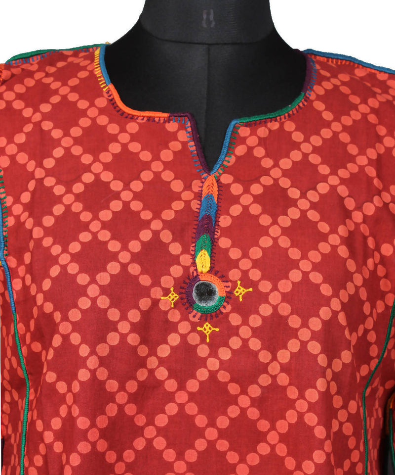 Lambani Hand Embroidery Red Cotton Kurta