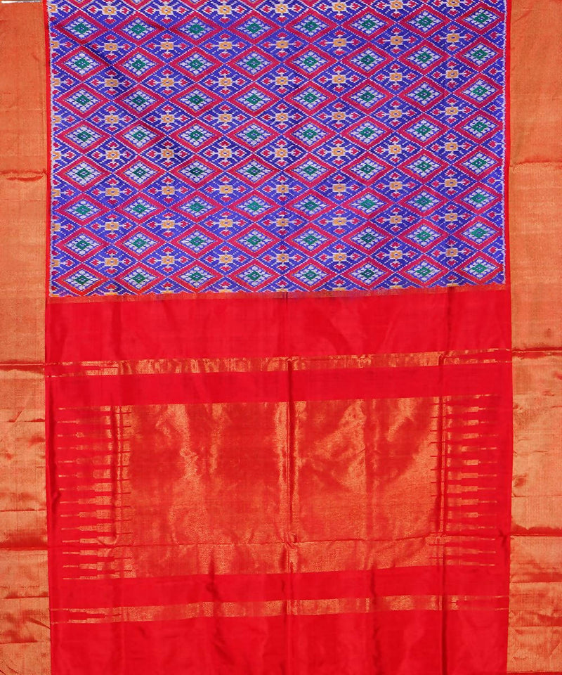 Purple Red Handloom Ikkat Silk Saree