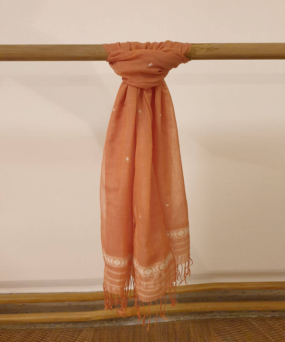 Beige brown assam handloom cotton silk stole