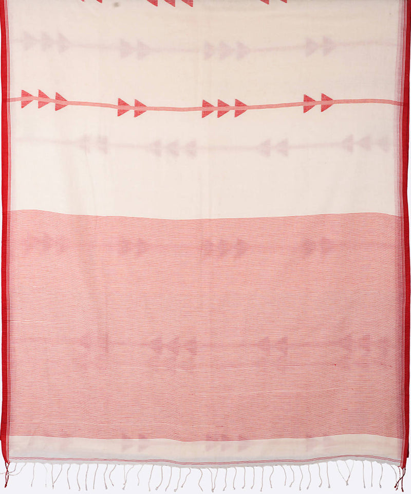 White striped handwoven cotton jamdani saree