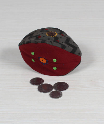 Grey Black Red Lambani Embroidery Coin Pouch