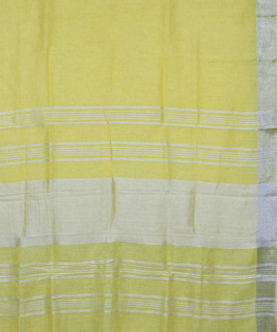 Handloom Light Yellow Linen Saree