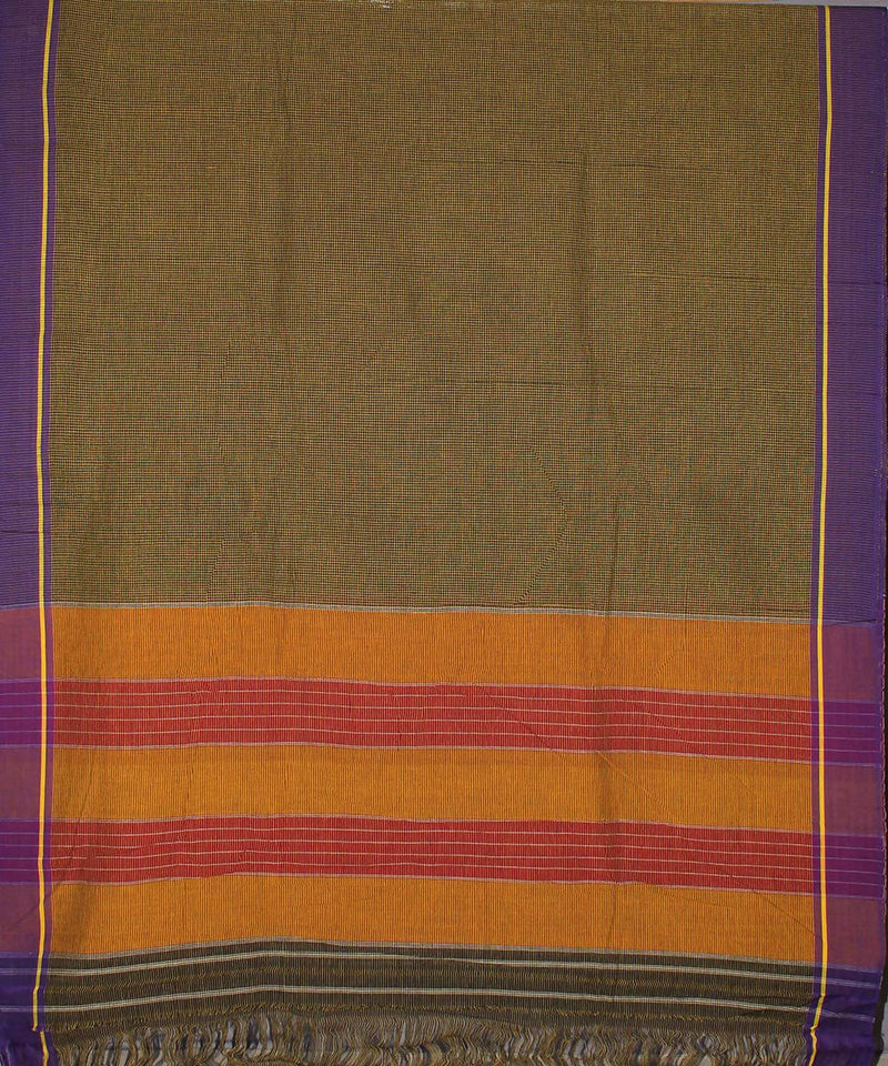 Black yellow checks patteda anchu cotton handwoven saree