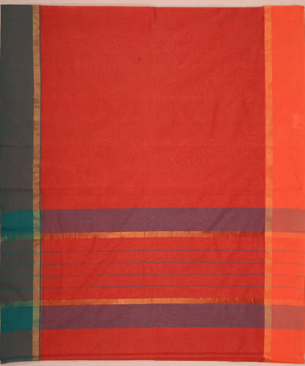 Terracotta Brown Ganga Jamuna Handloom Kanchi Cotton Saree