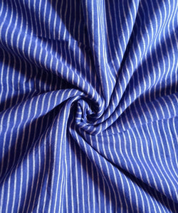 Blue Stripe Handwoven Natural Dyed Cotton Kotpad Fabric