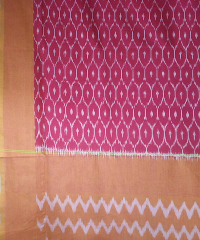 Pink cream handwoven cotton ikat pochampally saree