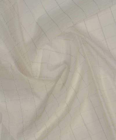 White Zari Handloom Cotton Silk Fabric (10m per quantity)