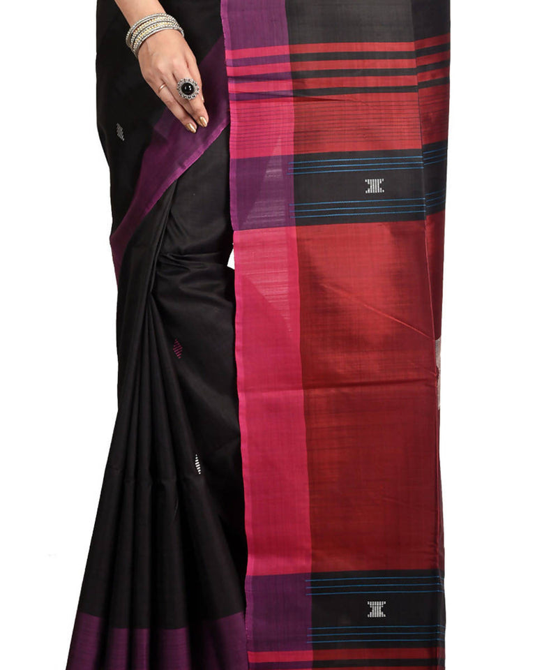Resham shilpi black bengal silk saree handwith woven design